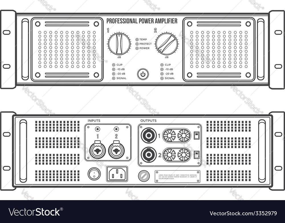 Outline speaker amplifier device vector | Price: 1 Credit (USD $1)