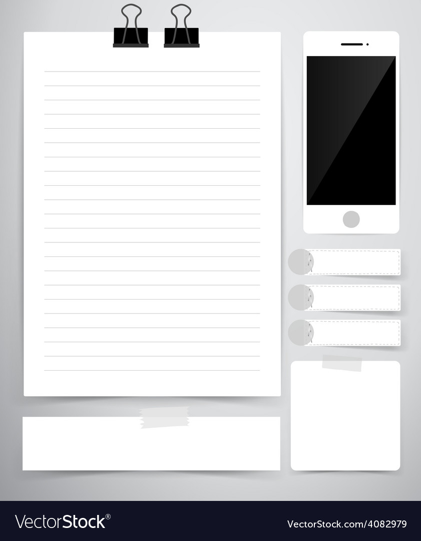Paper sheet cute note papers and mobile phone vector | Price: 1 Credit (USD $1)