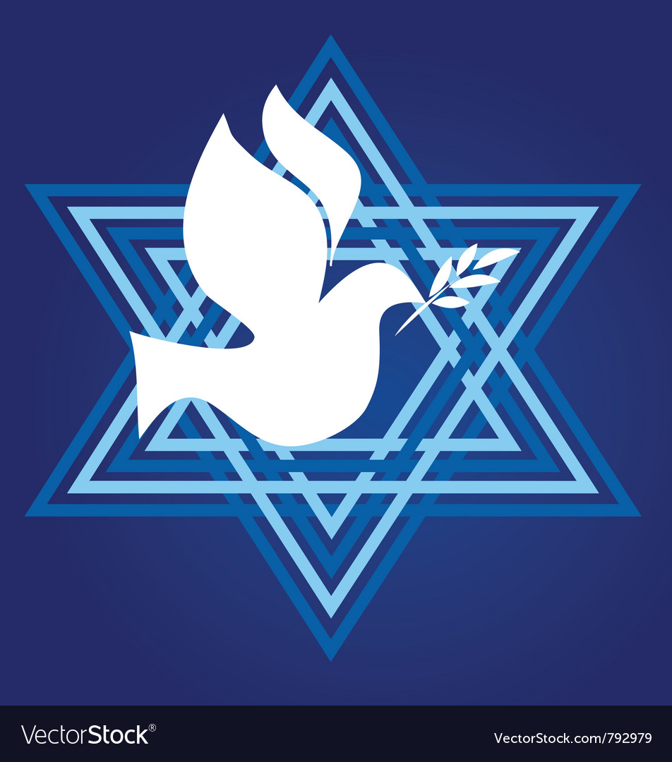 Peace symbol david star with white pigeon vector   Price: 1 Credit (USD $1)