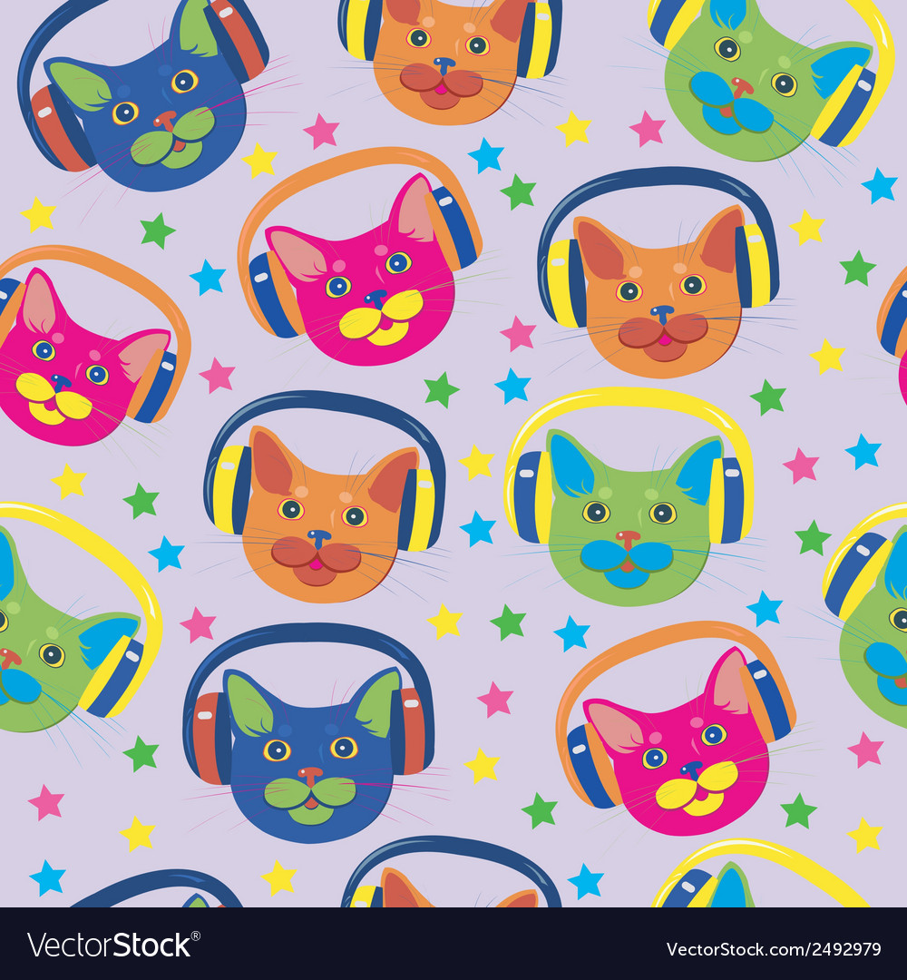 Seamless pattern of colored cats vector | Price: 1 Credit (USD $1)