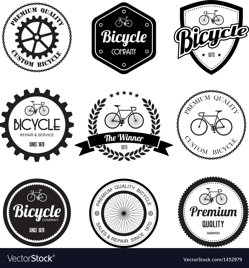Set of bicycle retro vintage badges and labels vector | Price: 1 Credit (USD $1)