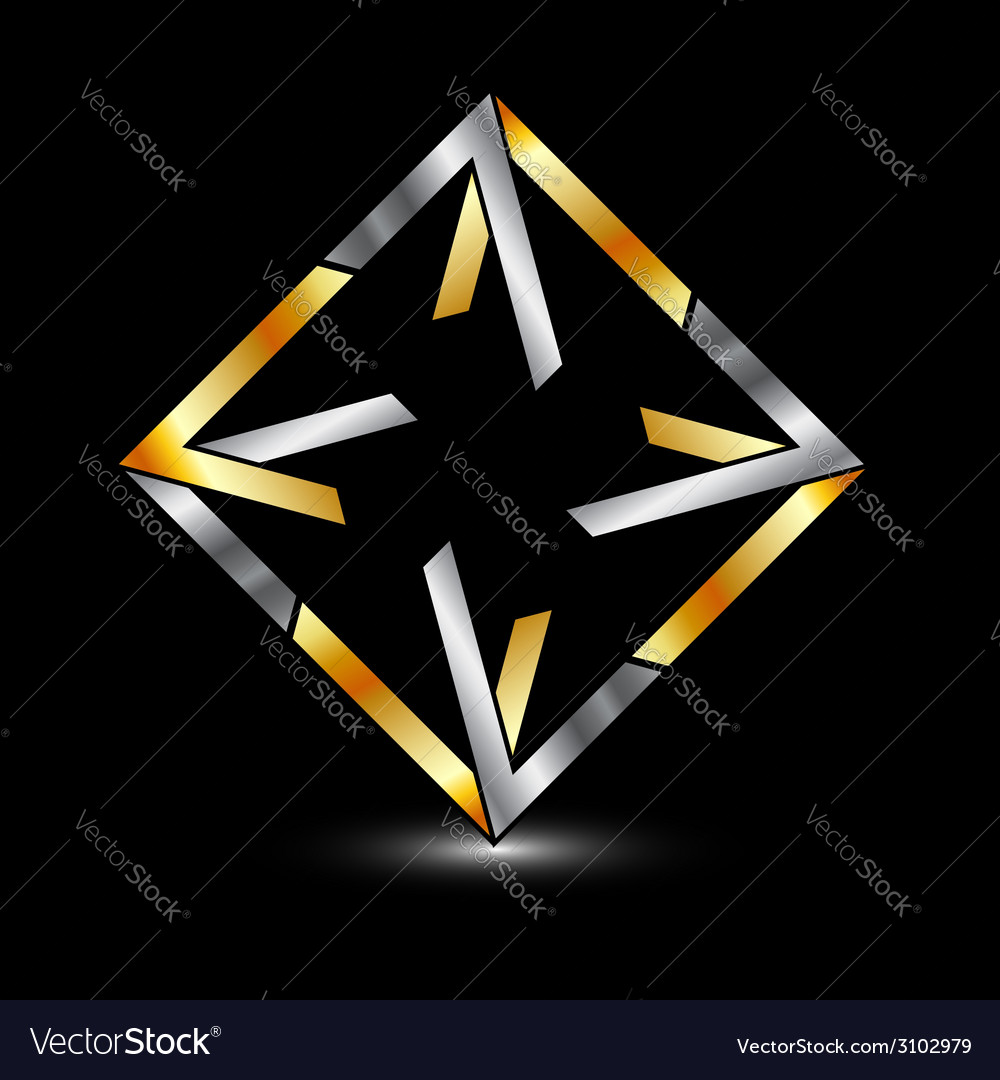 Symmetric square business logo in gold and silver vector | Price: 1 Credit (USD $1)