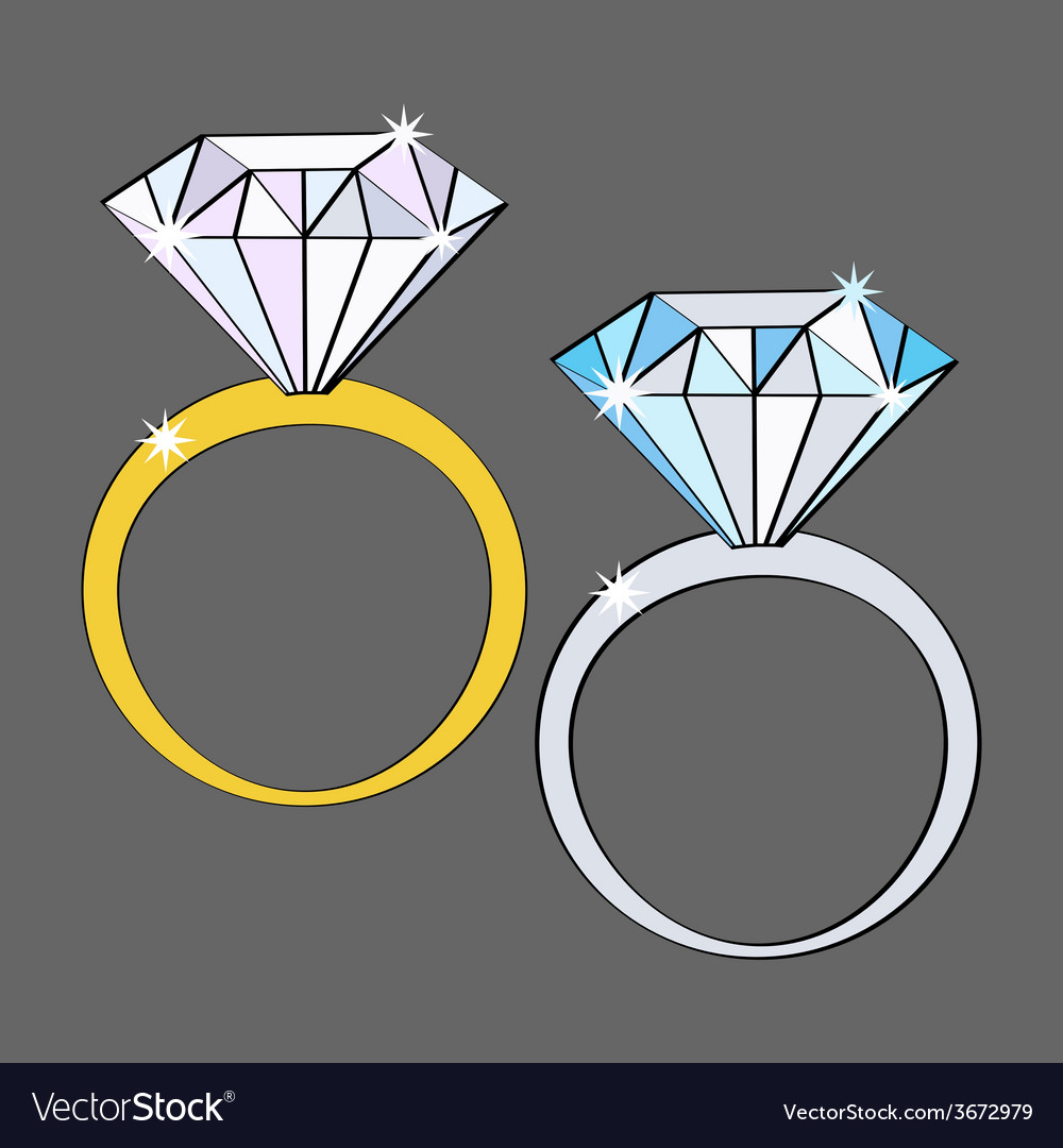 Two diamond rings white and yellow gold icon set vector | Price: 1 Credit (USD $1)