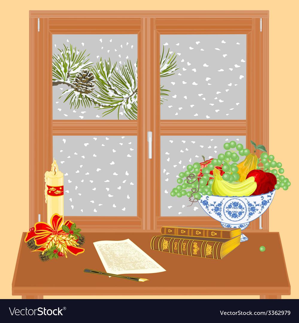 Winter window manuscript and rare books vector | Price: 1 Credit (USD $1)