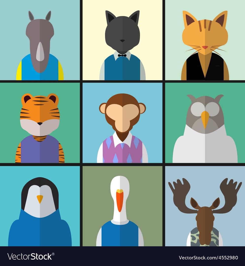 Animal avatar icon set vector