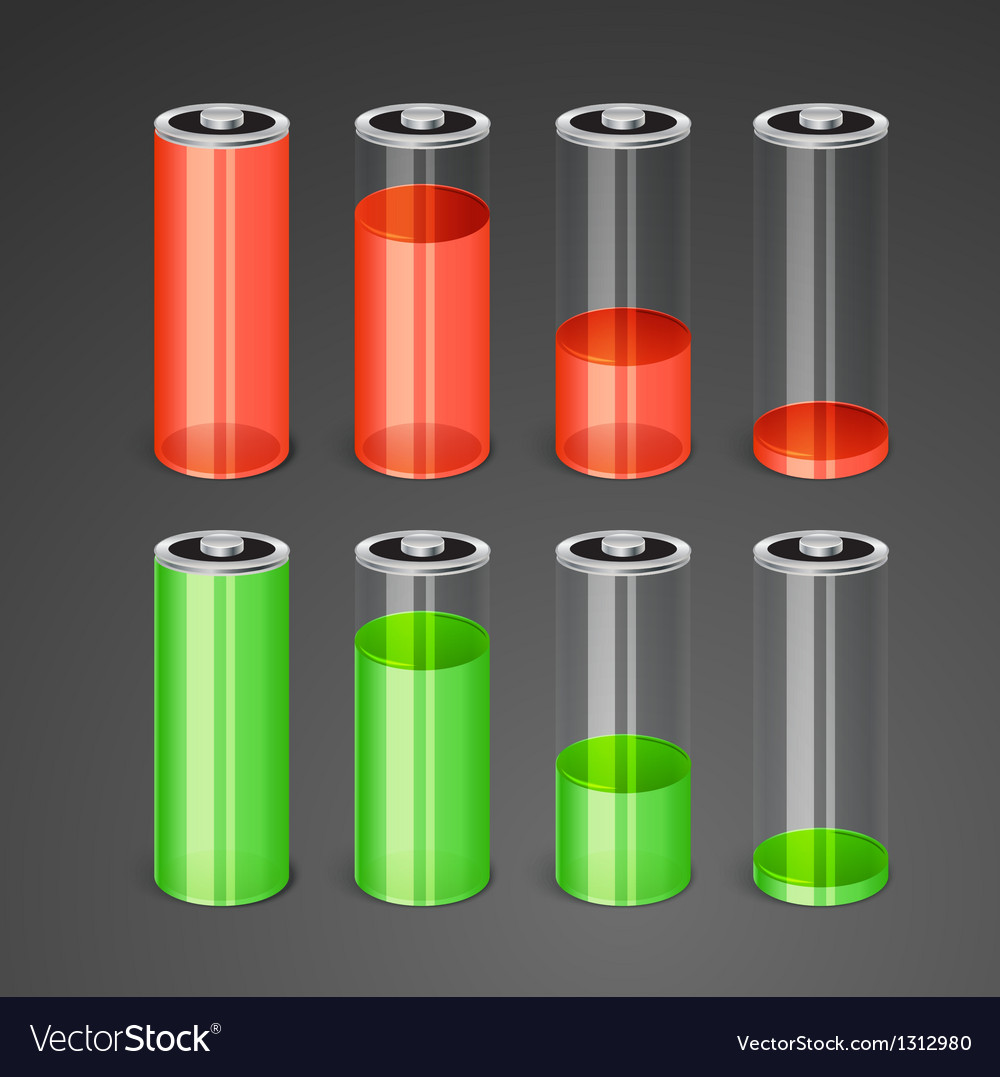 Batteries with different level of charge vector | Price: 1 Credit (USD $1)