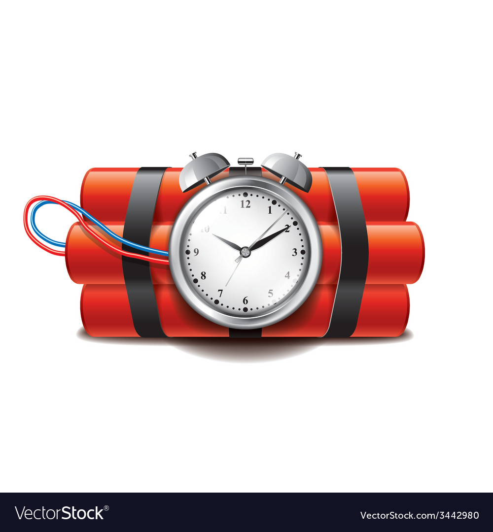 Bomb clock timer isolated vector | Price: 1 Credit (USD $1)