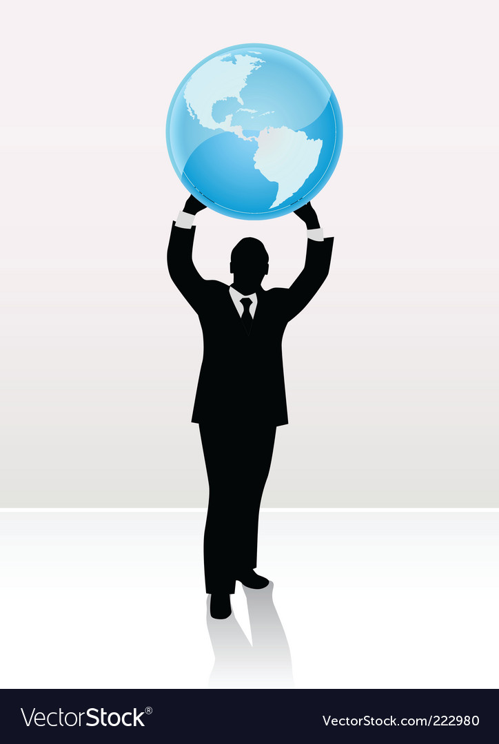 Businessman lifting world vector | Price: 1 Credit (USD $1)