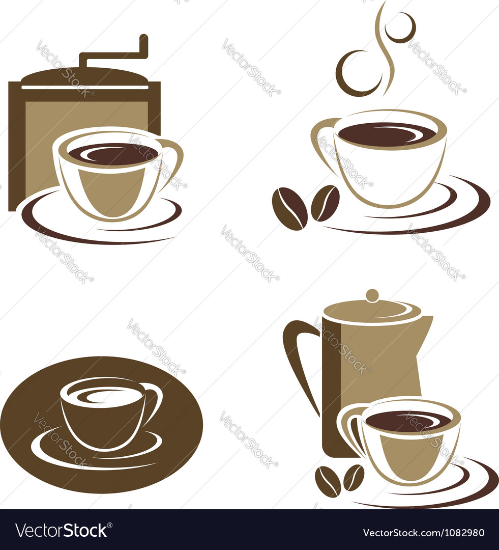 Coffee cup set vector | Price:  Credit (USD $)