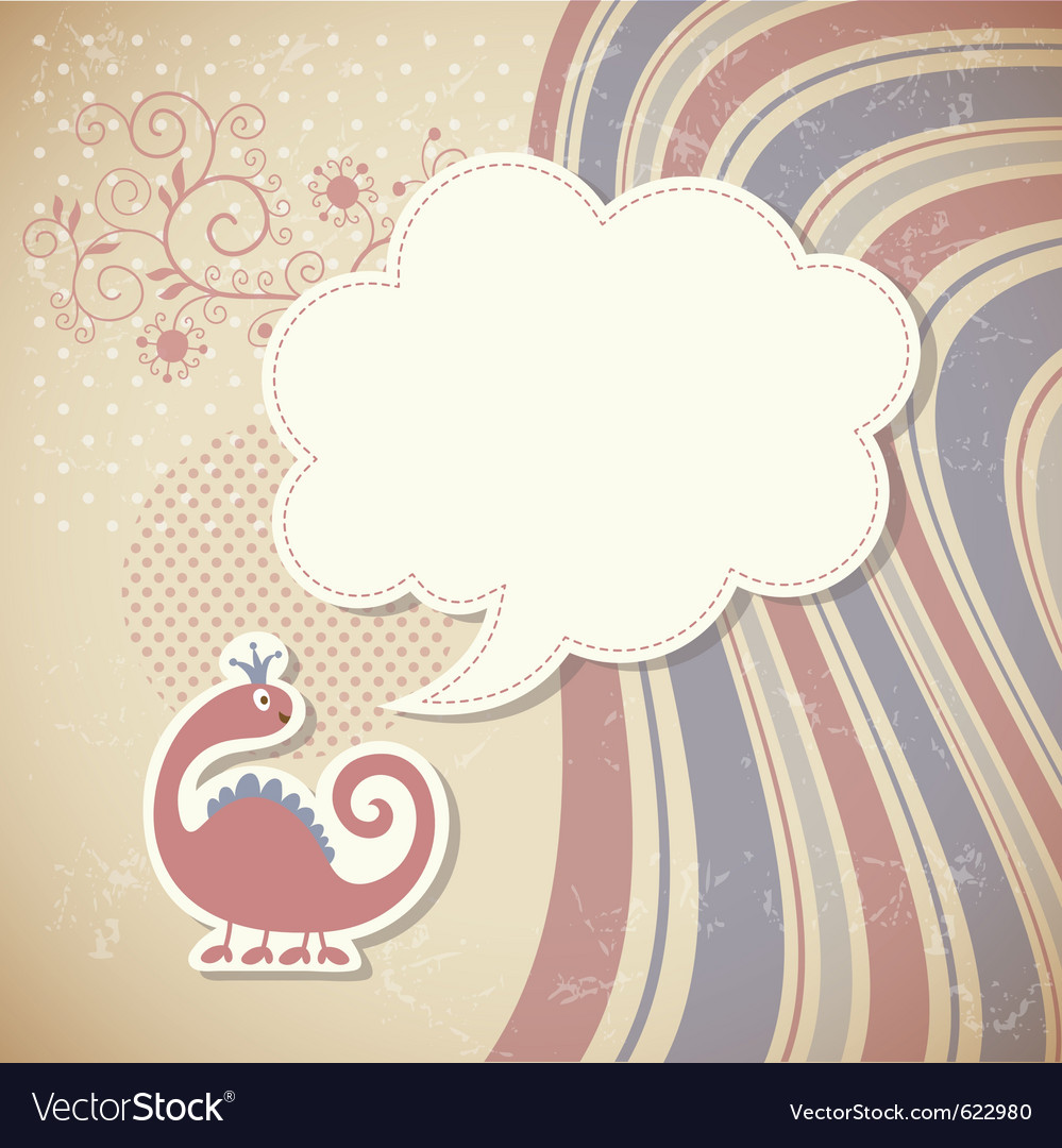 Cute dragon and speech bubble vector | Price: 1 Credit (USD $1)