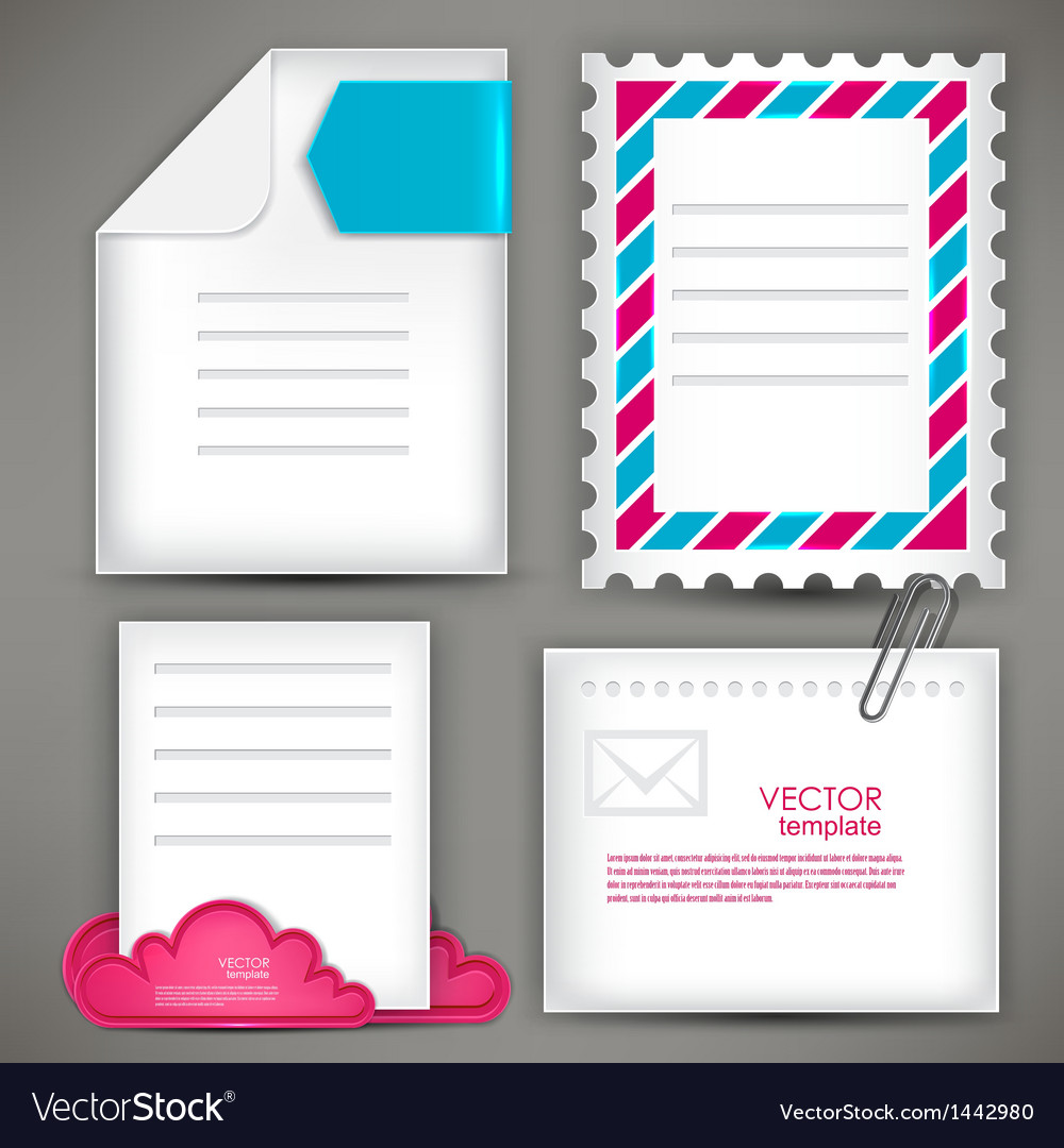 Empty white paper notes icon for mail vector   Price: 1 Credit (USD $1)