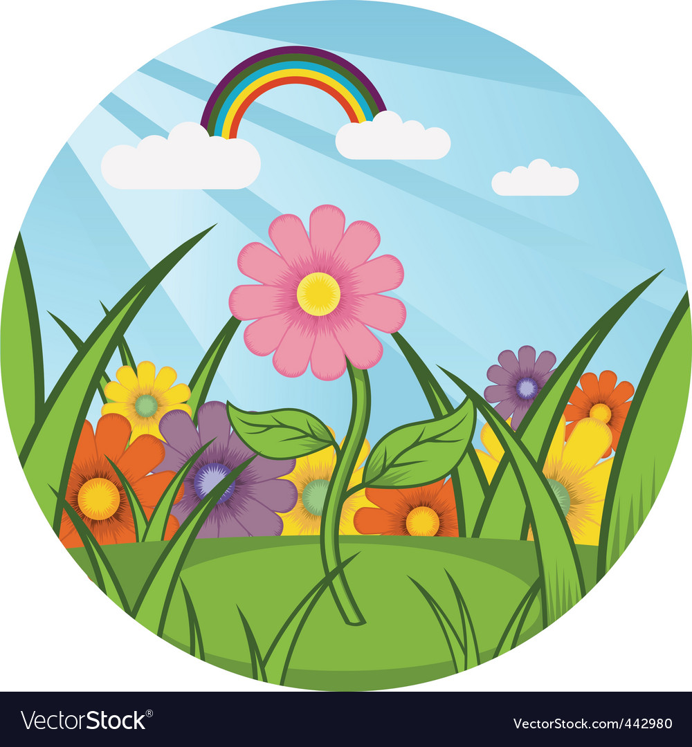Field of flowers vector | Price: 1 Credit (USD $1)