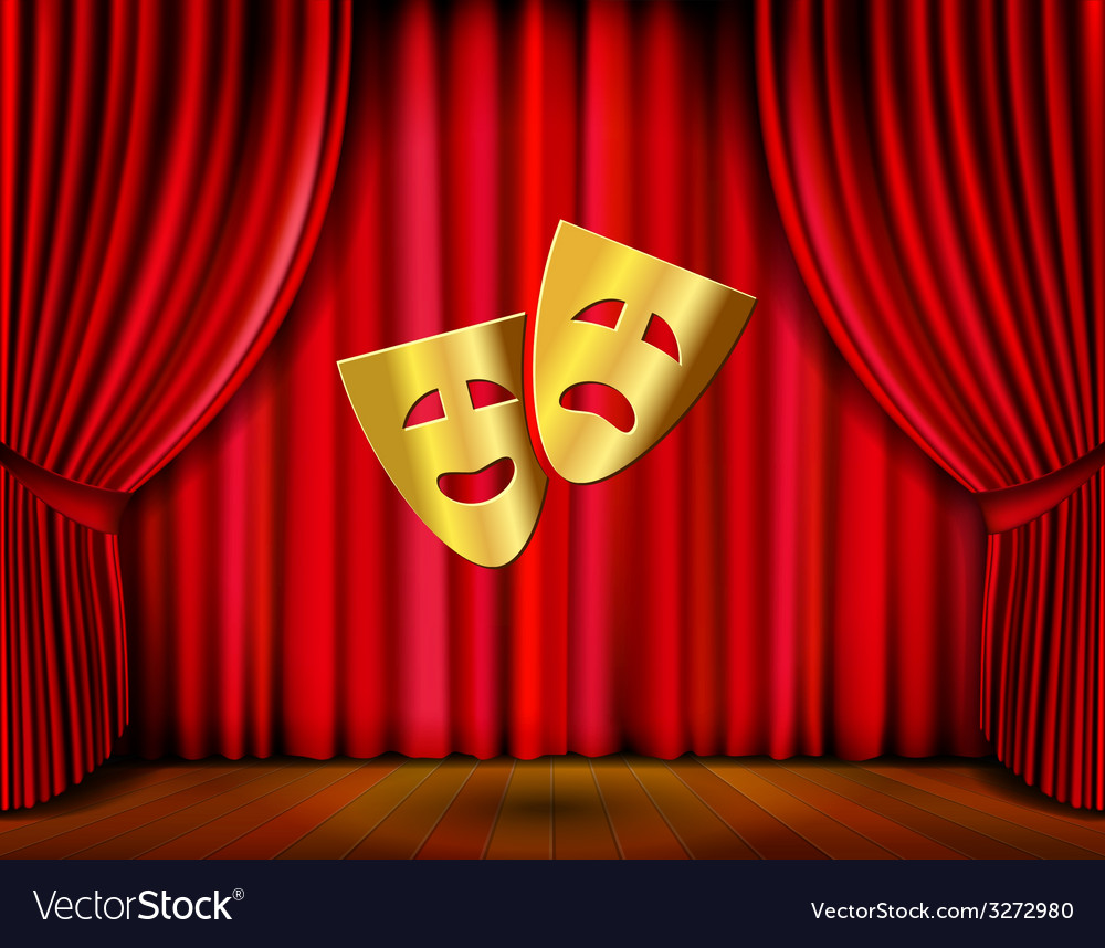 Golden masks and red curtain vector | Price: 1 Credit (USD $1)