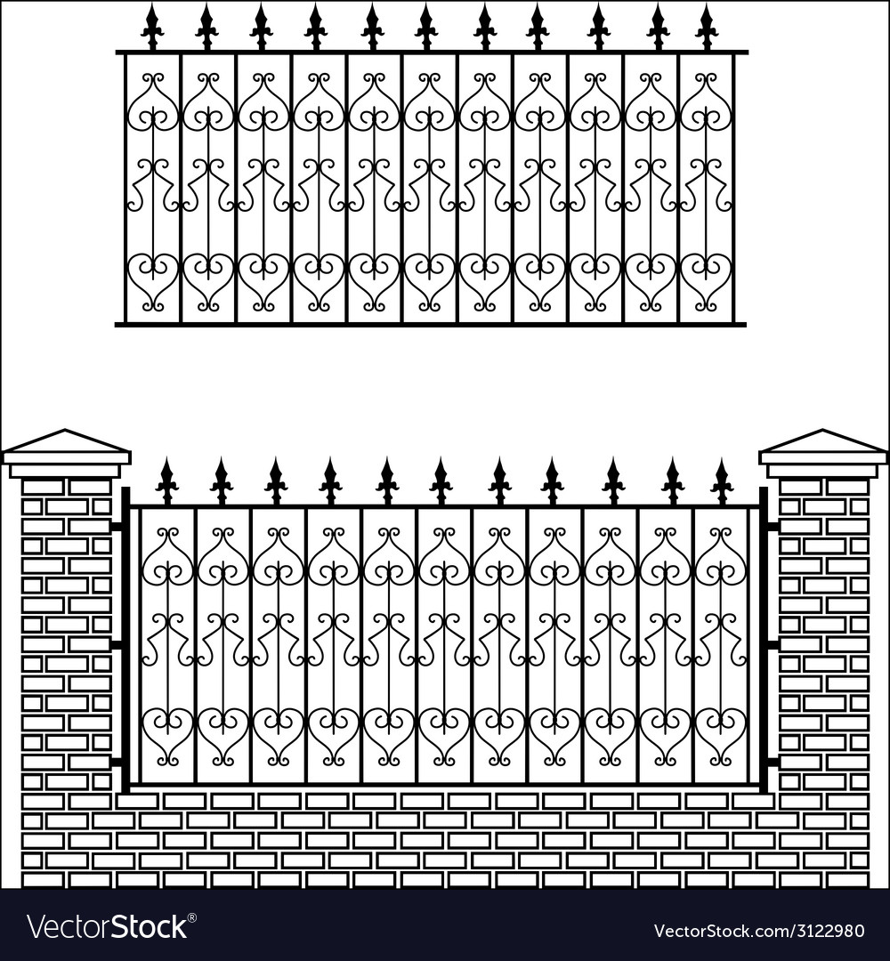 Iron fence with bricks vector | Price: 1 Credit (USD $1)