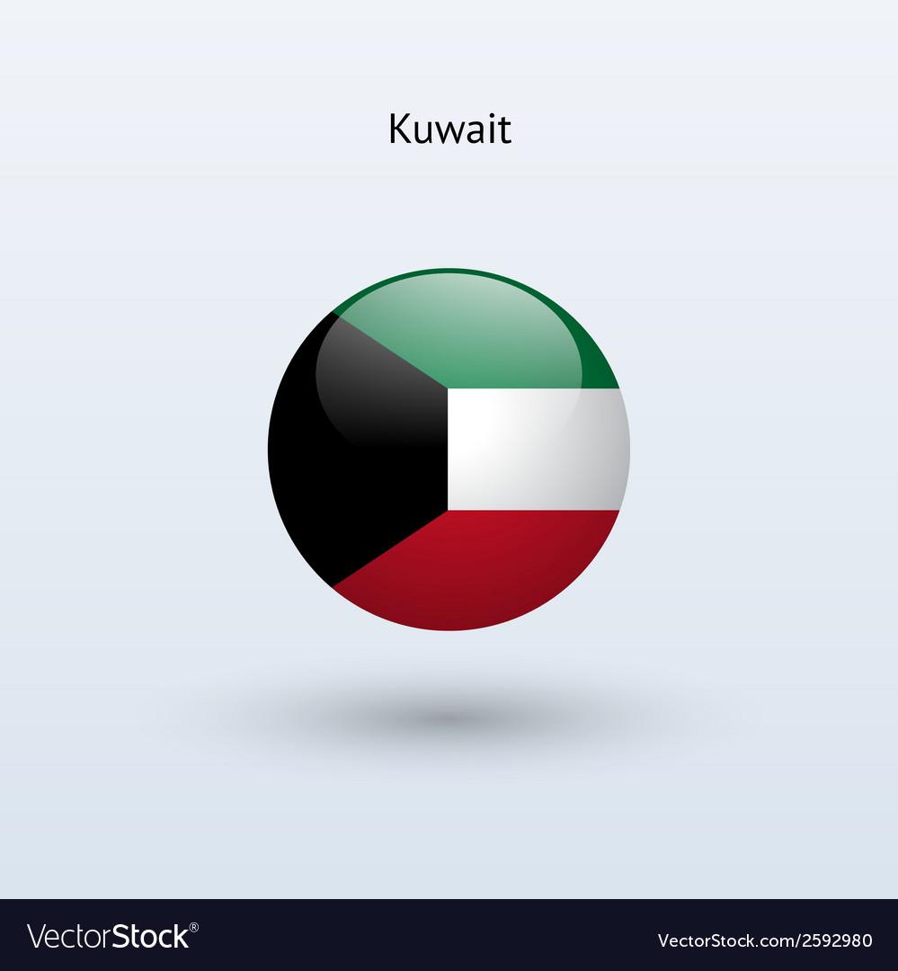 Kuwait round flag vector   Price: 1 Credit (USD $1)