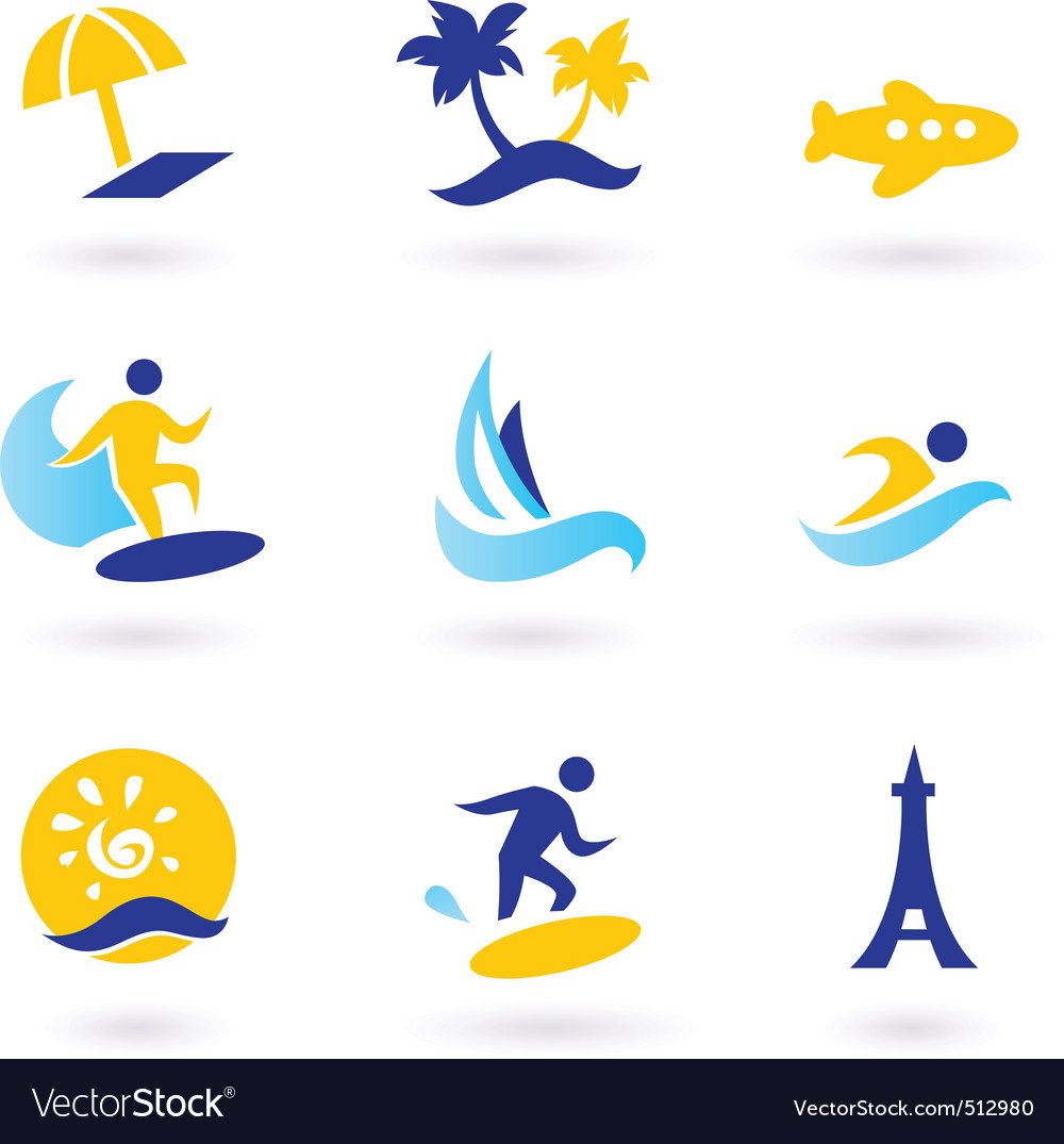 Retro summer and travel icons vector   Price: 1 Credit (USD $1)