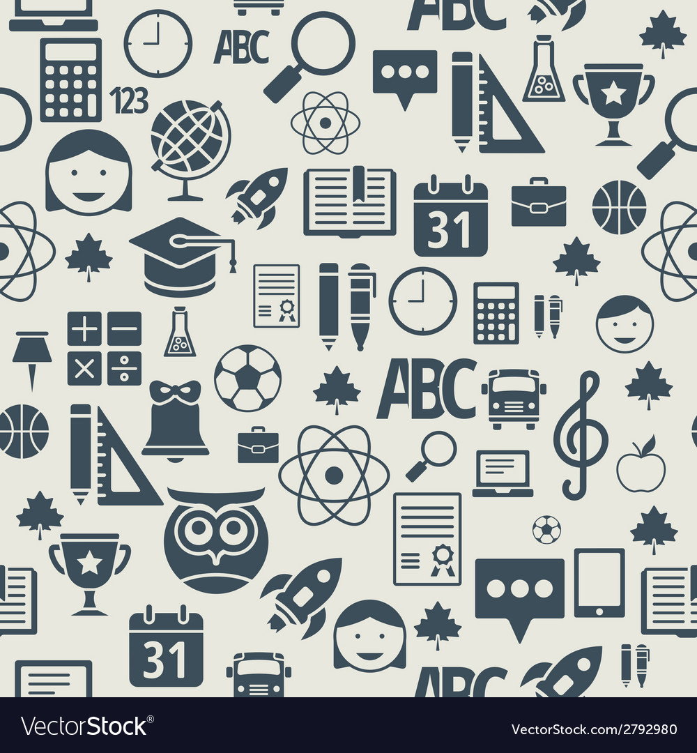 School and education flat design icons seamless vector | Price: 1 Credit (USD $1)
