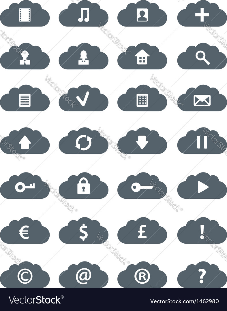 Simple flat clouds icon set vector | Price: 1 Credit (USD $1)