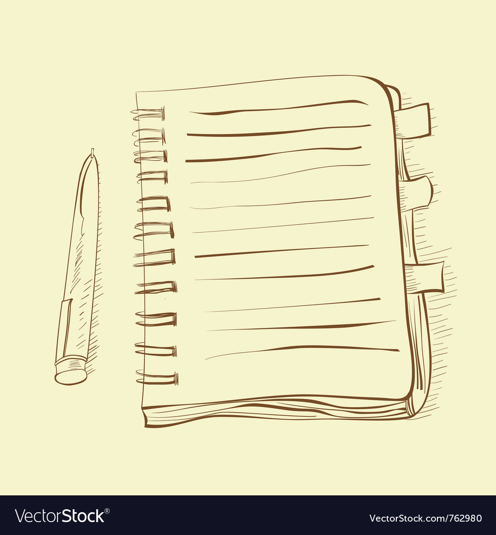 Sketch with notebook vector | Price: 1 Credit (USD $1)