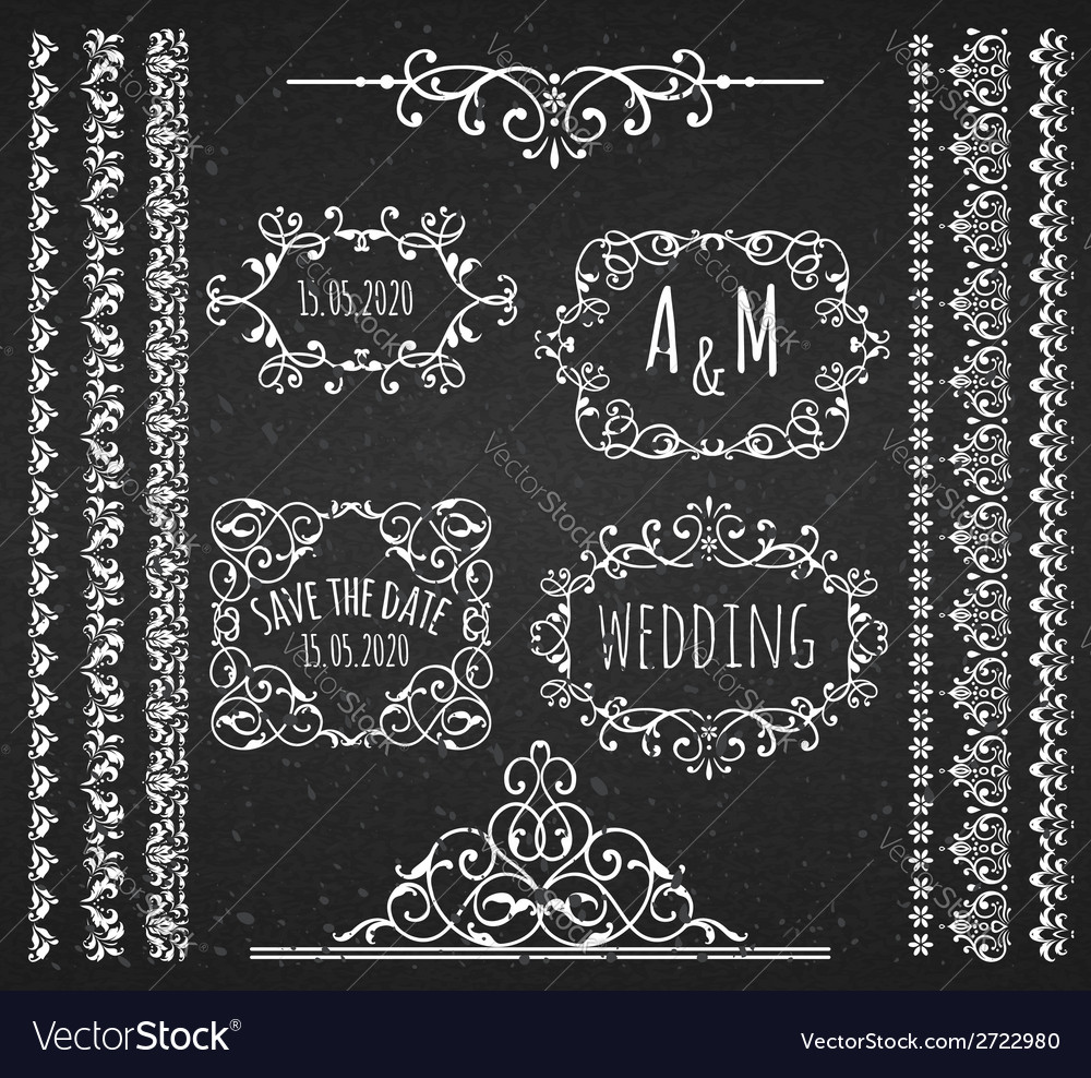 Vintage frames scroll elements and borders vector | Price: 1 Credit (USD $1)