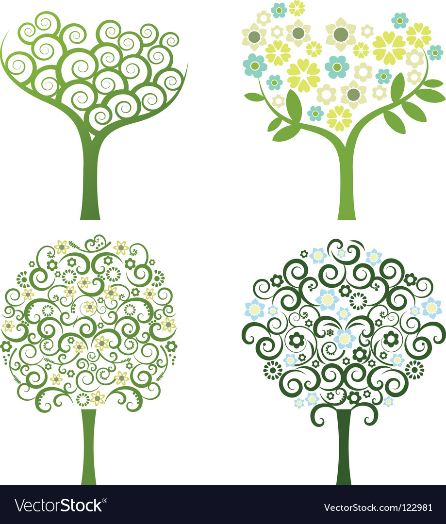 Abstract tree with flowers set vector | Price: 1 Credit (USD $1)