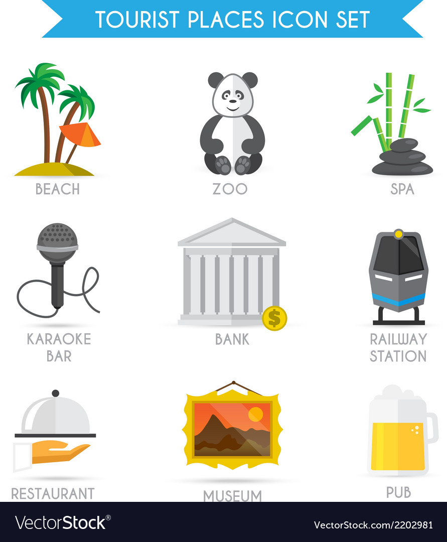 Building tourism icons flat vector | Price: 1 Credit (USD $1)