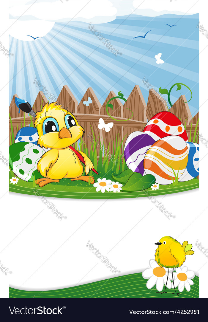 Cartoon chicken and easter eggs vector | Price: 3 Credit (USD $3)