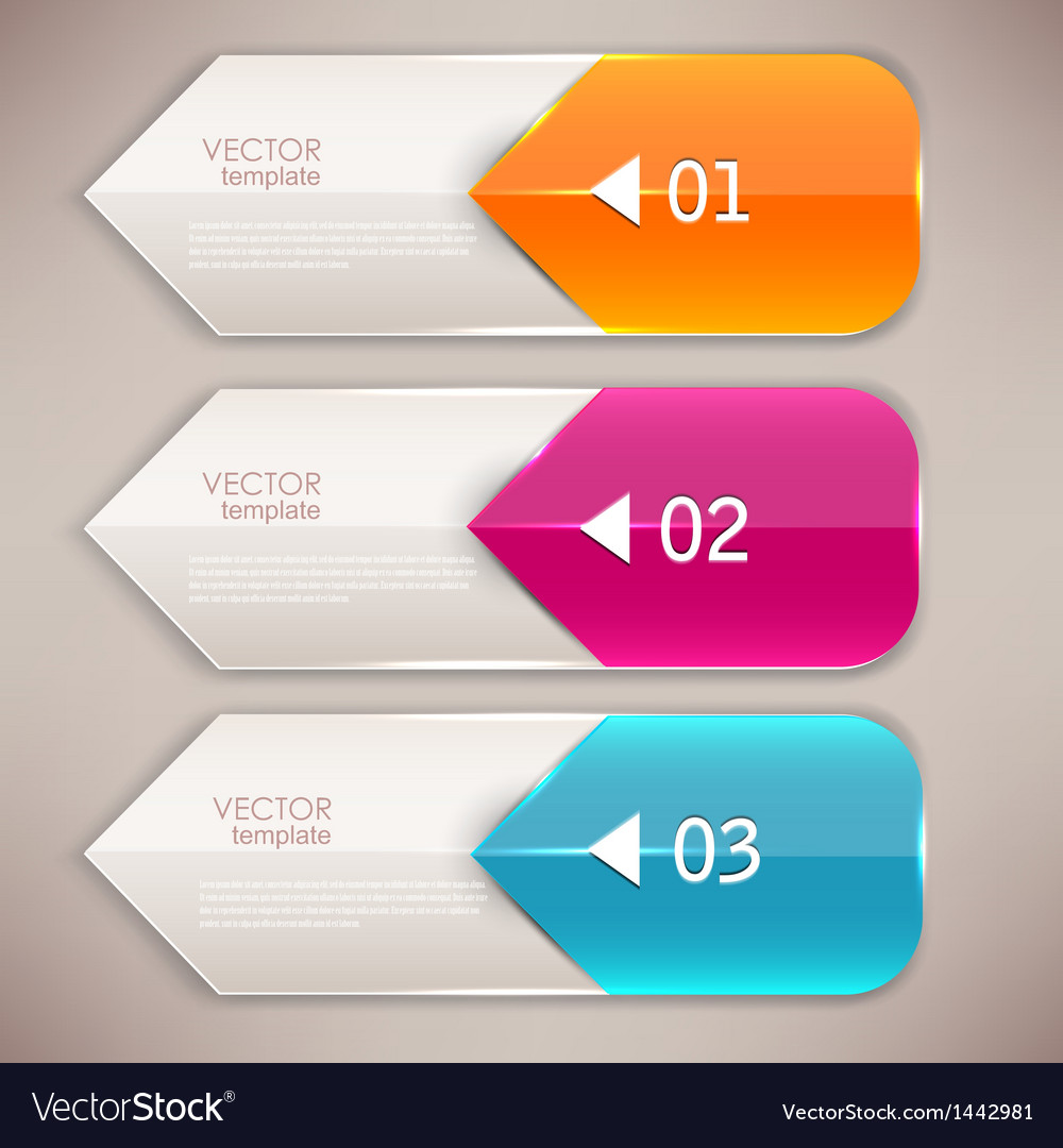 Colorful bookmarks and arrows for text vector