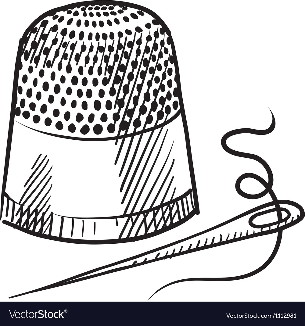 Doodle thimble needle thread vector | Price: 1 Credit (USD $1)