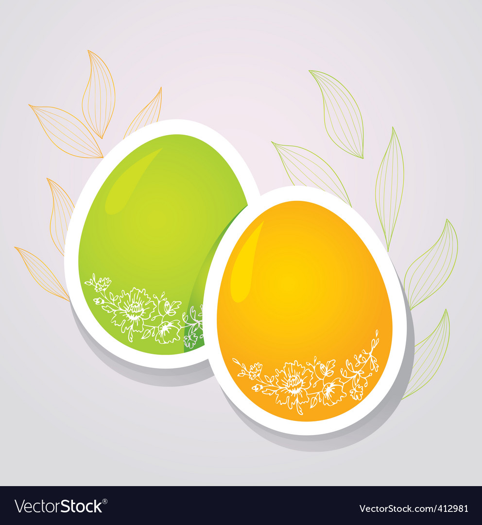 Egg floral banners color vector | Price: 1 Credit (USD $1)