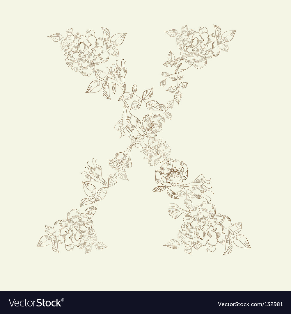 Floral font letter x vector | Price: 1 Credit (USD $1)