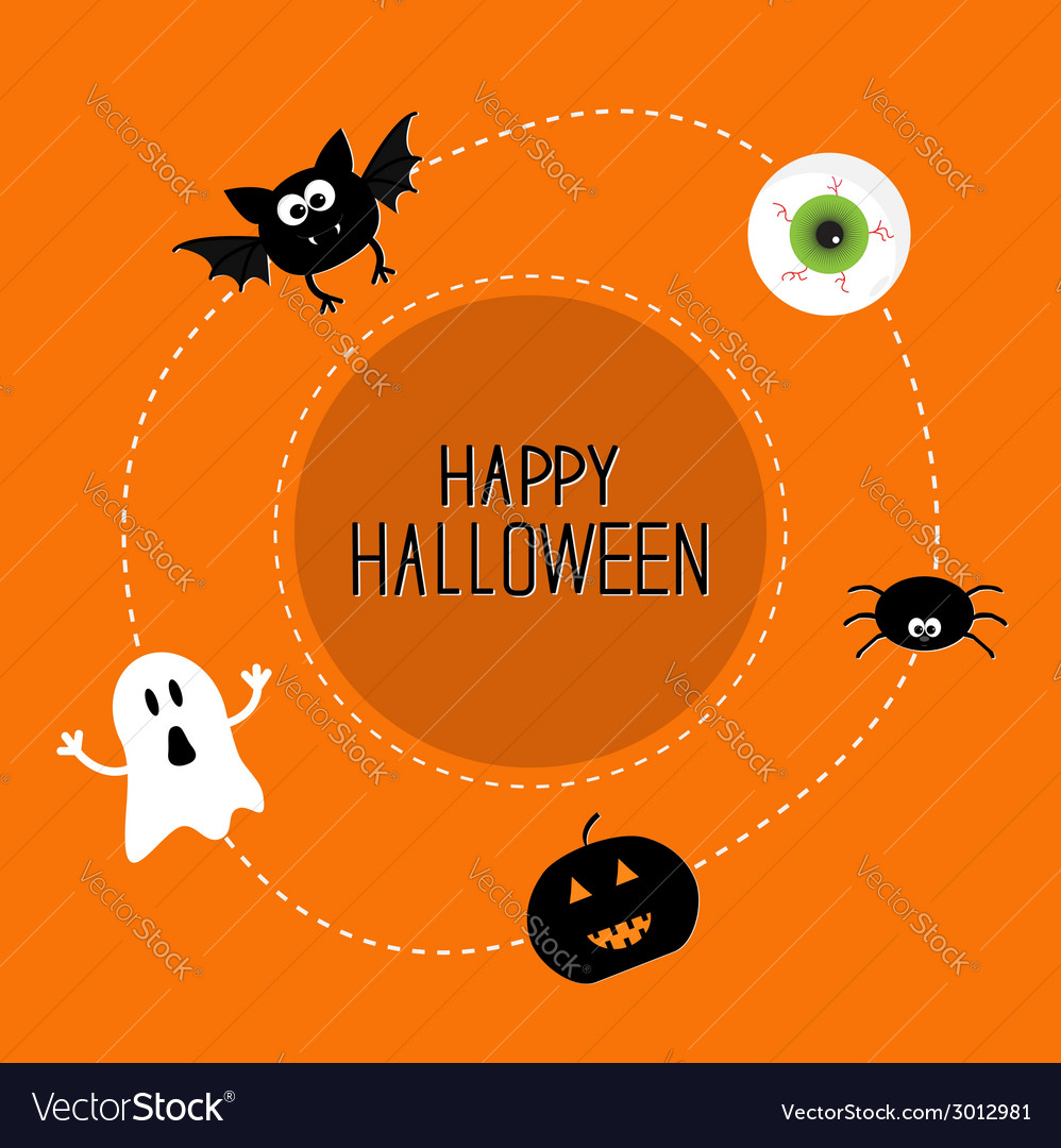 Ghost bat spider eye pumpkin happy halloween set vector | Price: 1 Credit (USD $1)