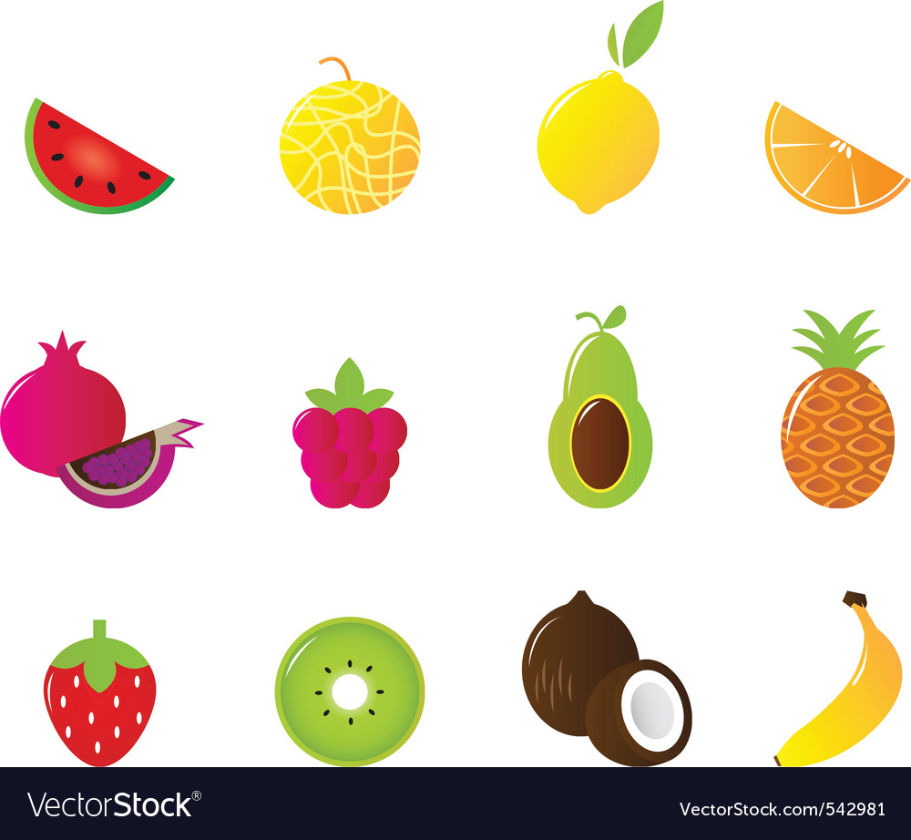 Juicy fruit icons set isolated vector | Price: 1 Credit (USD $1)