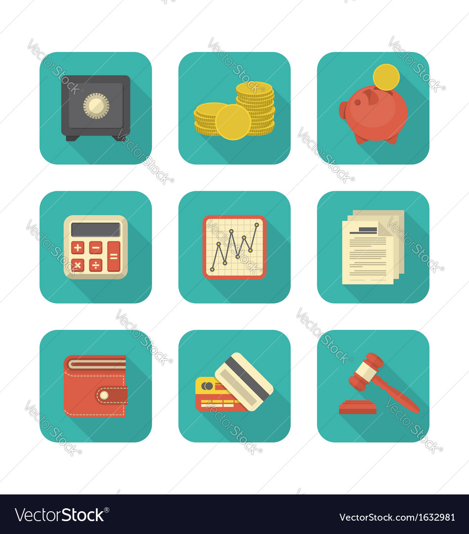 Modern flat financial icons vector | Price: 1 Credit (USD $1)