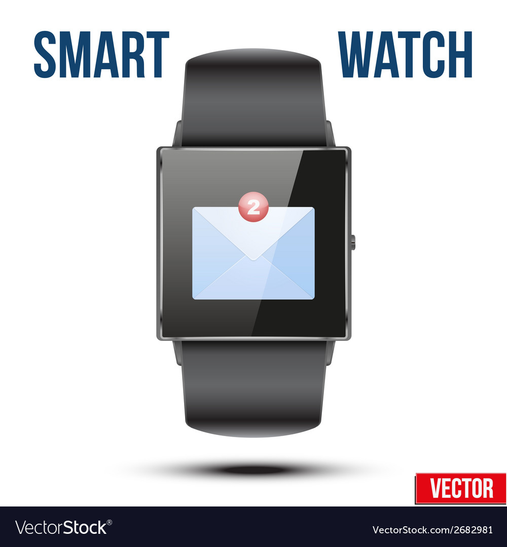New mail received notification on smart watch vector | Price: 1 Credit (USD $1)