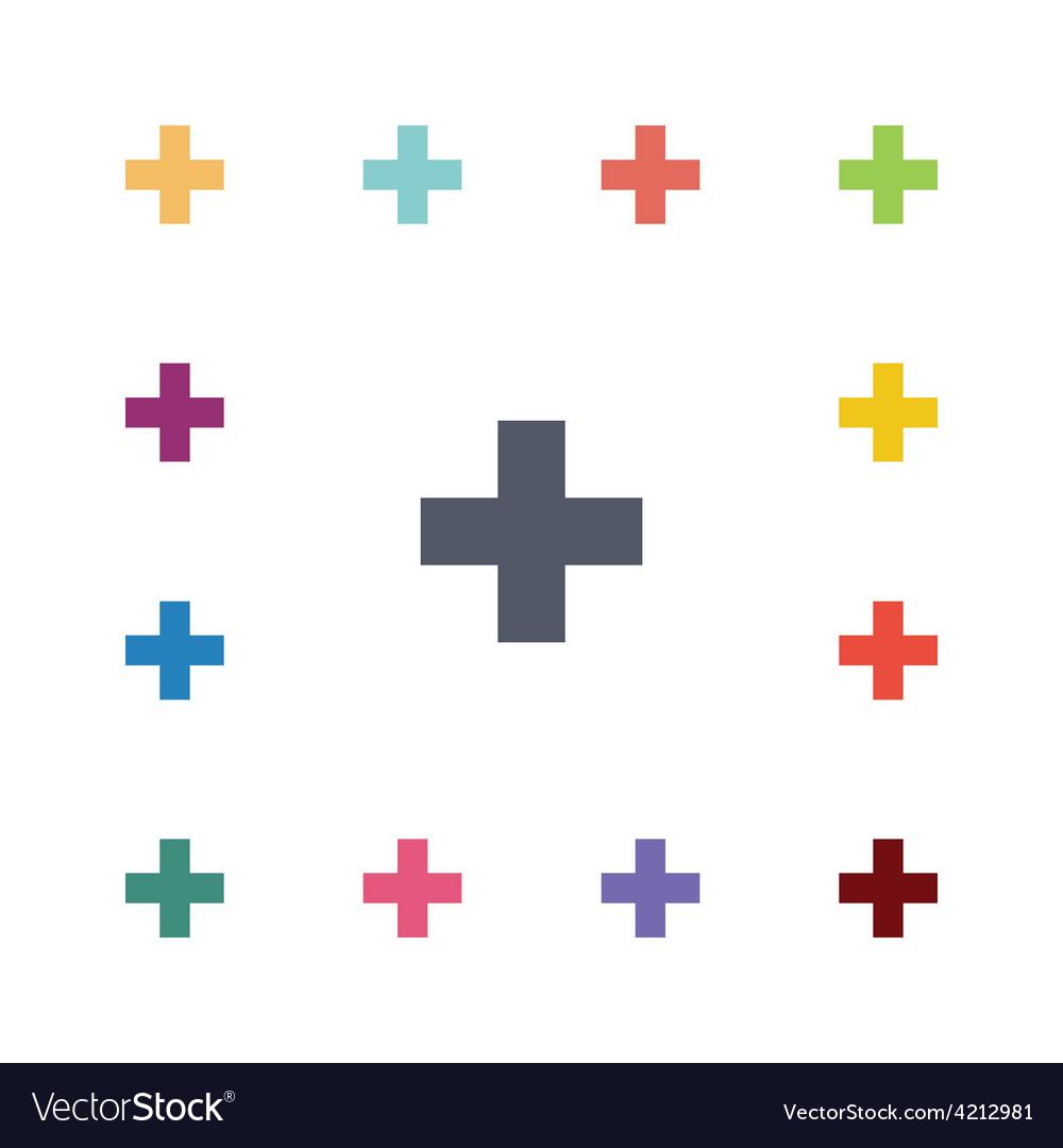 Plus flat icons set vector | Price: 1 Credit (USD $1)