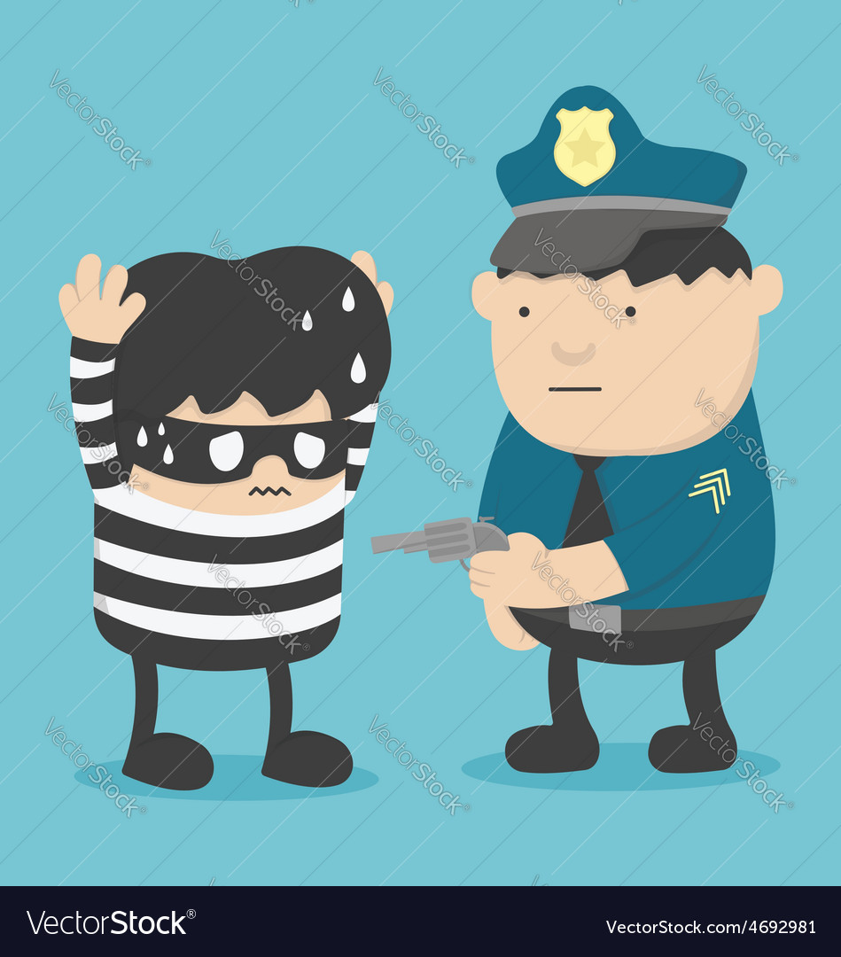 Police catch thief vector | Price: 1 Credit (USD $1)