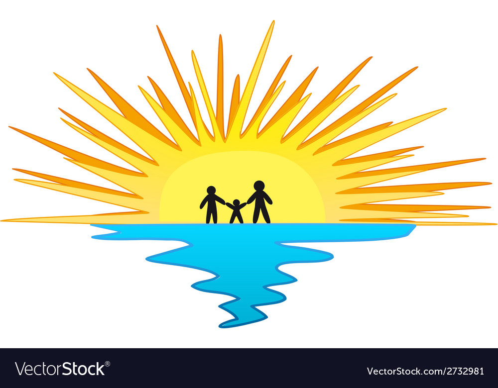 Sunset with family symbol vector | Price: 1 Credit (USD $1)
