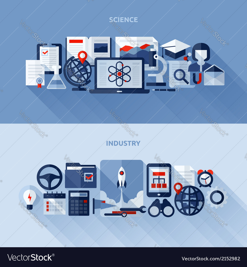 1flat design elements of science and industry vector | Price: 1 Credit (USD $1)