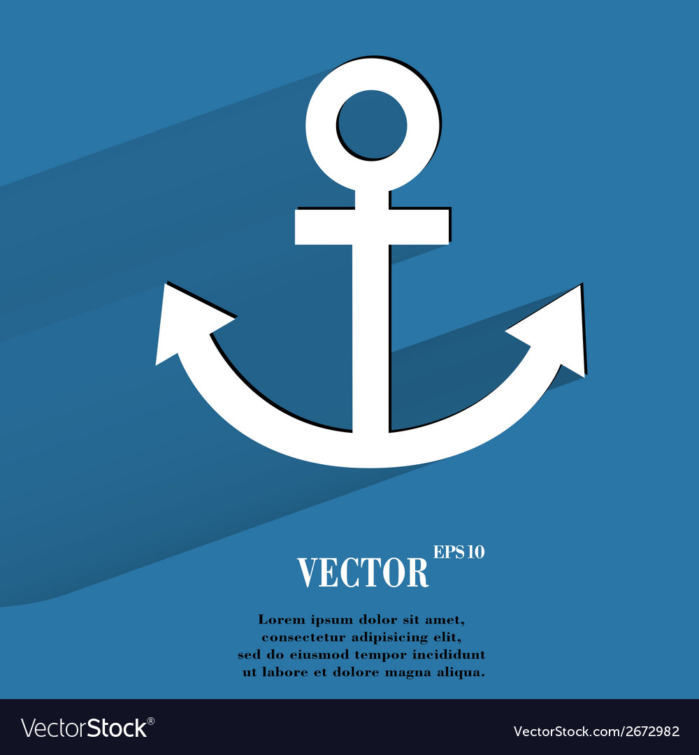 Anchor flat modern web button with long shadow and vector | Price: 1 Credit (USD $1)
