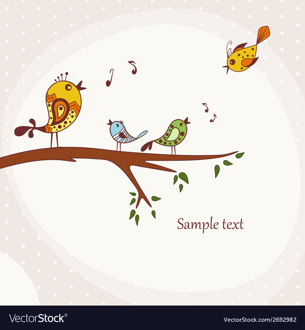 Birds sitting on a tree branch vector | Price: 1 Credit (USD $1)