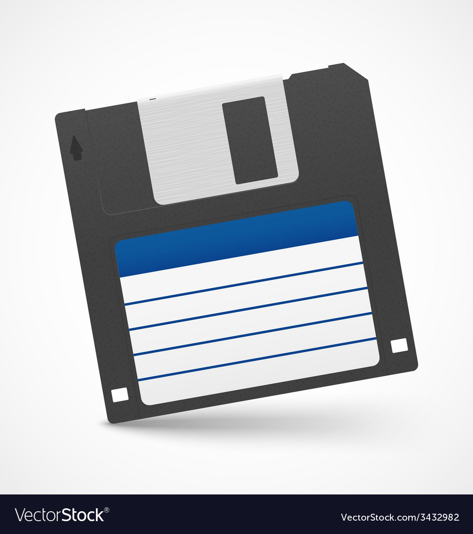 Black floppy diskette on white background vector | Price: 1 Credit (USD $1)