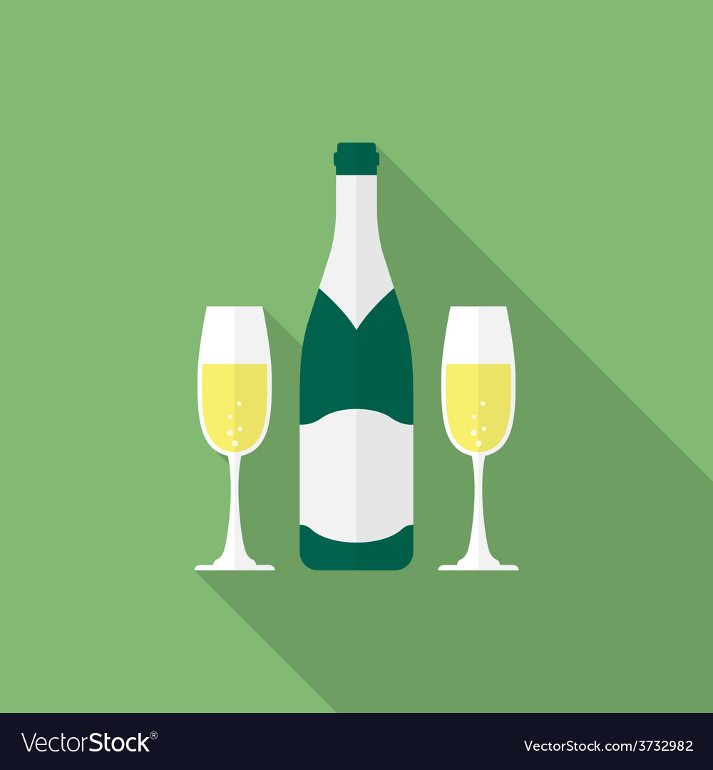 Bottle champagne and glasses of champagne flat vector | Price: 1 Credit (USD $1)