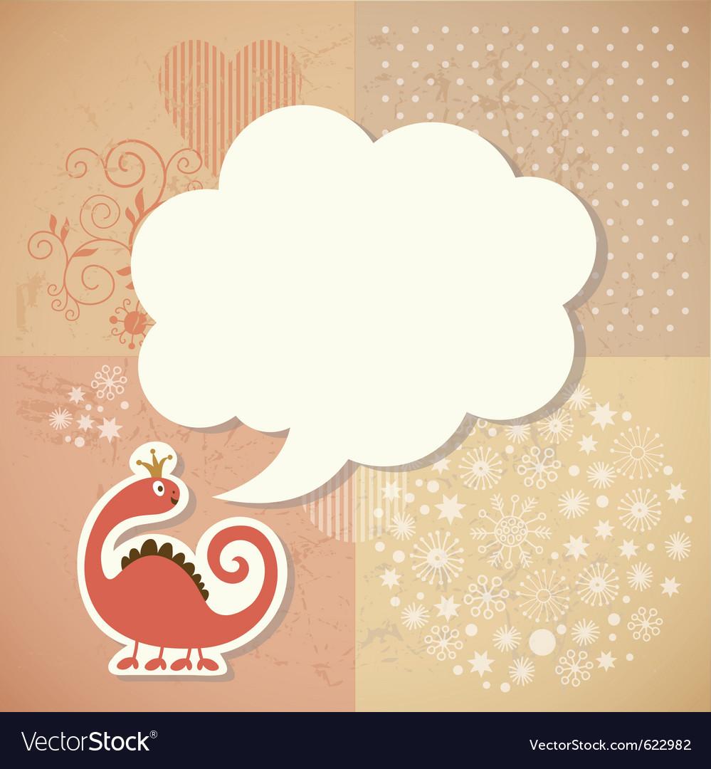 Cute dragon and speech bubble vector   Price: 1 Credit (USD $1)