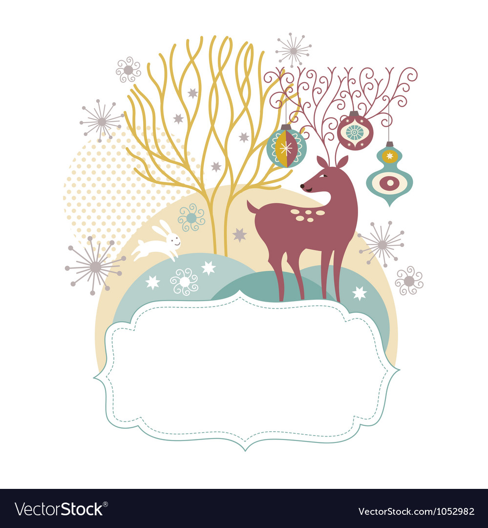 Greeting card christmas deer vector | Price: 3 Credit (USD $3)