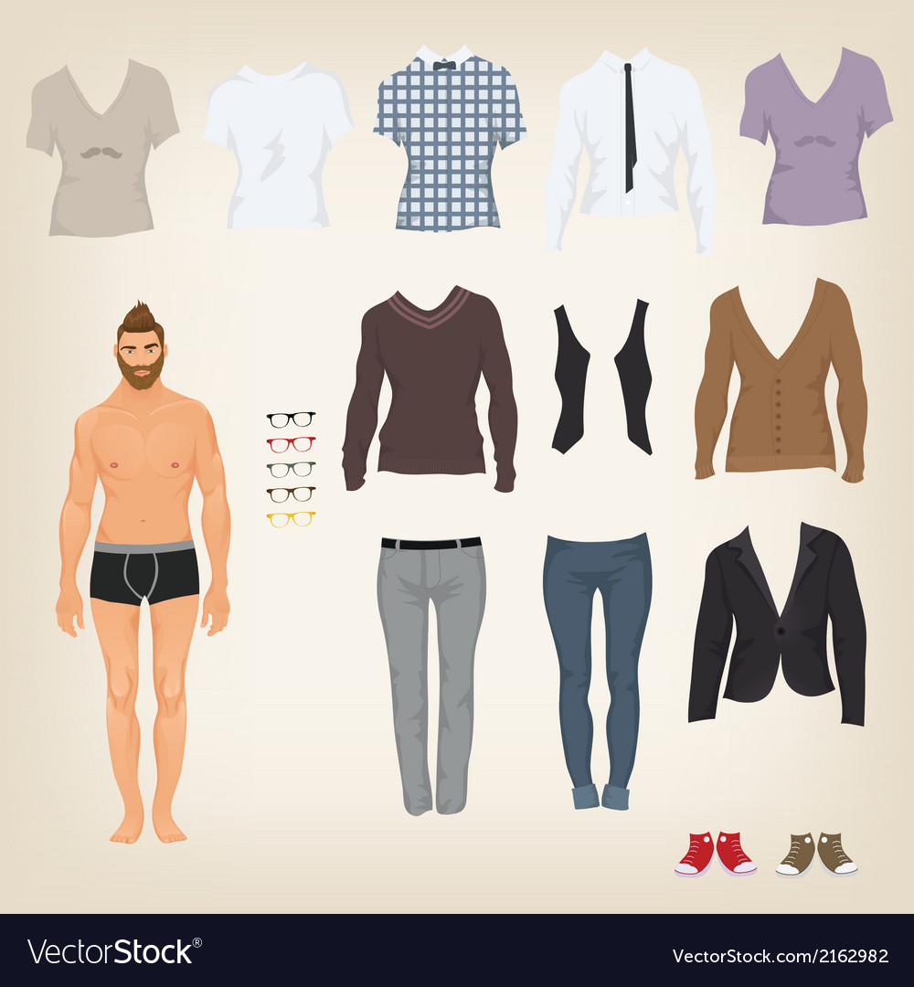 Hipster dress up doll with an assortment of vector