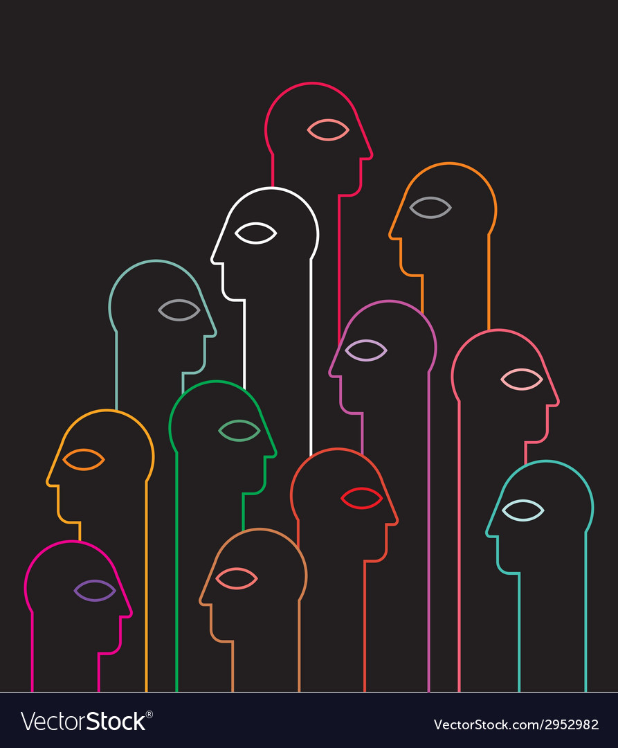 Human heads neon silhouettes vector | Price: 1 Credit (USD $1)