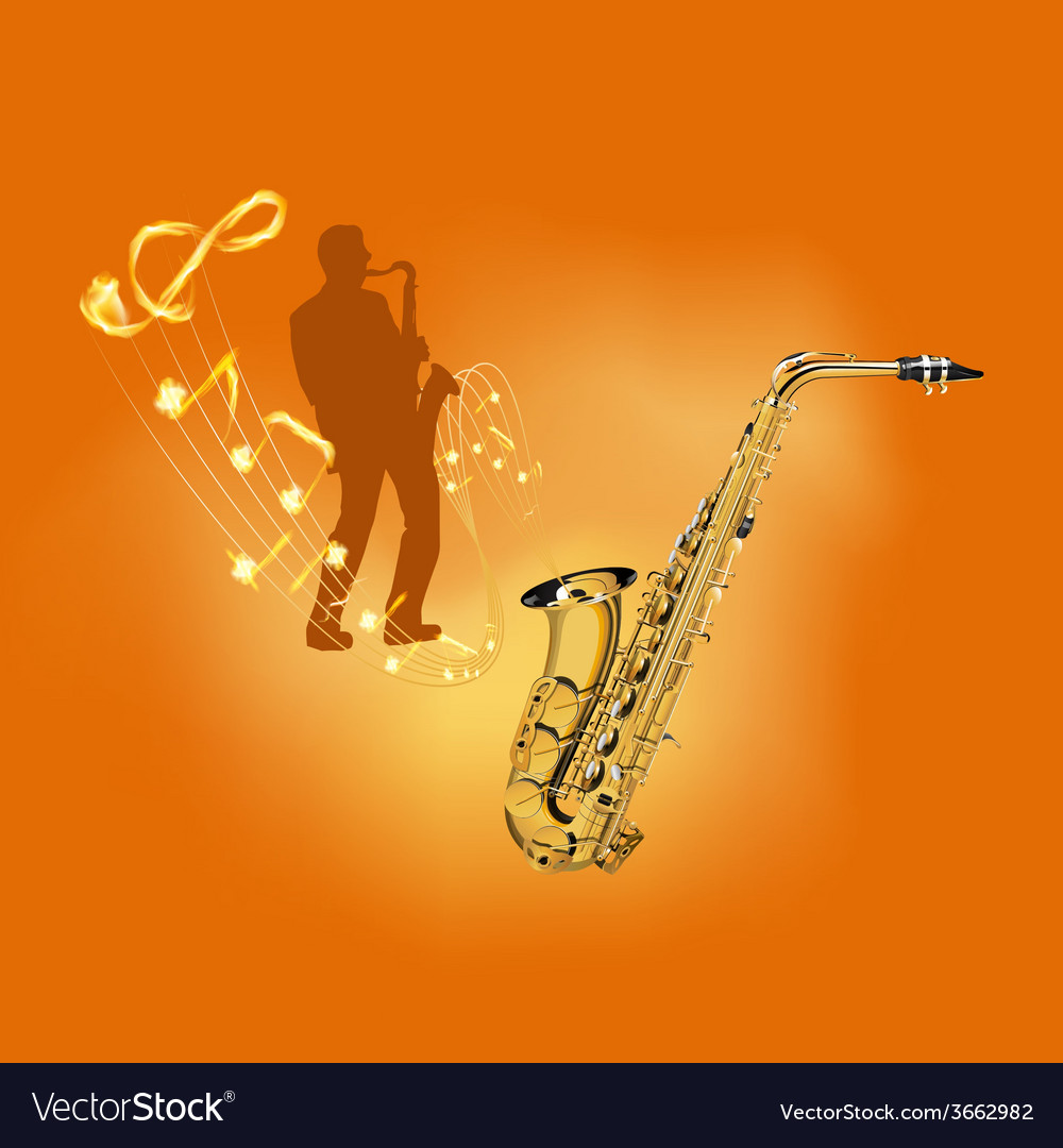 Playing a musical instrument saxophone vector | Price: 1 Credit (USD $1)