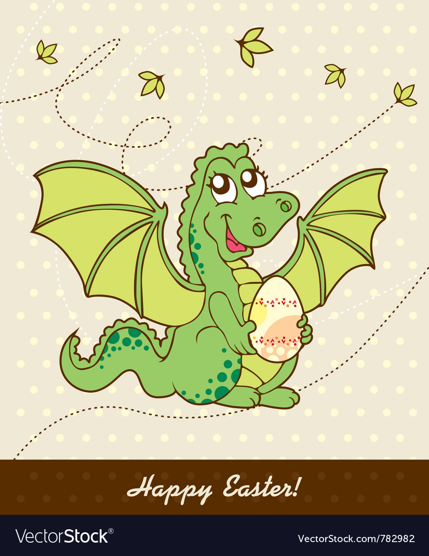 Retro easter card with dragon vector | Price: 1 Credit (USD $1)