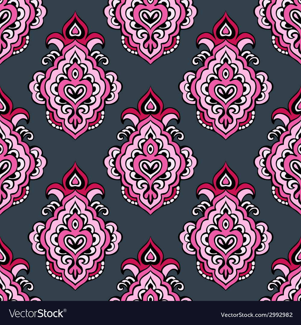 Seamless floral damask ve4ctor pattern vector | Price: 1 Credit (USD $1)